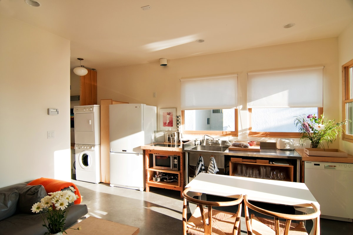 Upper - open kitchen/living