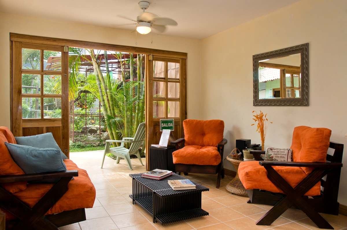 The living area that opens up unto the patio and beautiful mountain views..