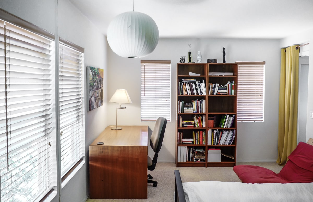 A quiet room with space to read or to sit at the desk with your notebook