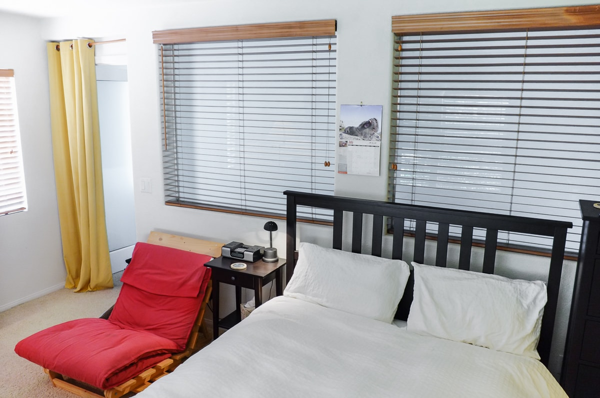 Large light room with comfortable bed located in quiet house near trails, shops, and ocean