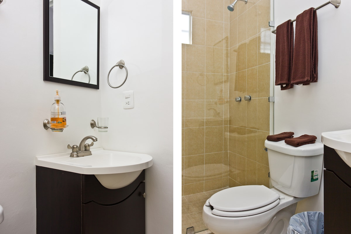 Bathroom with Vanity Sink & Tempered Glass Shower