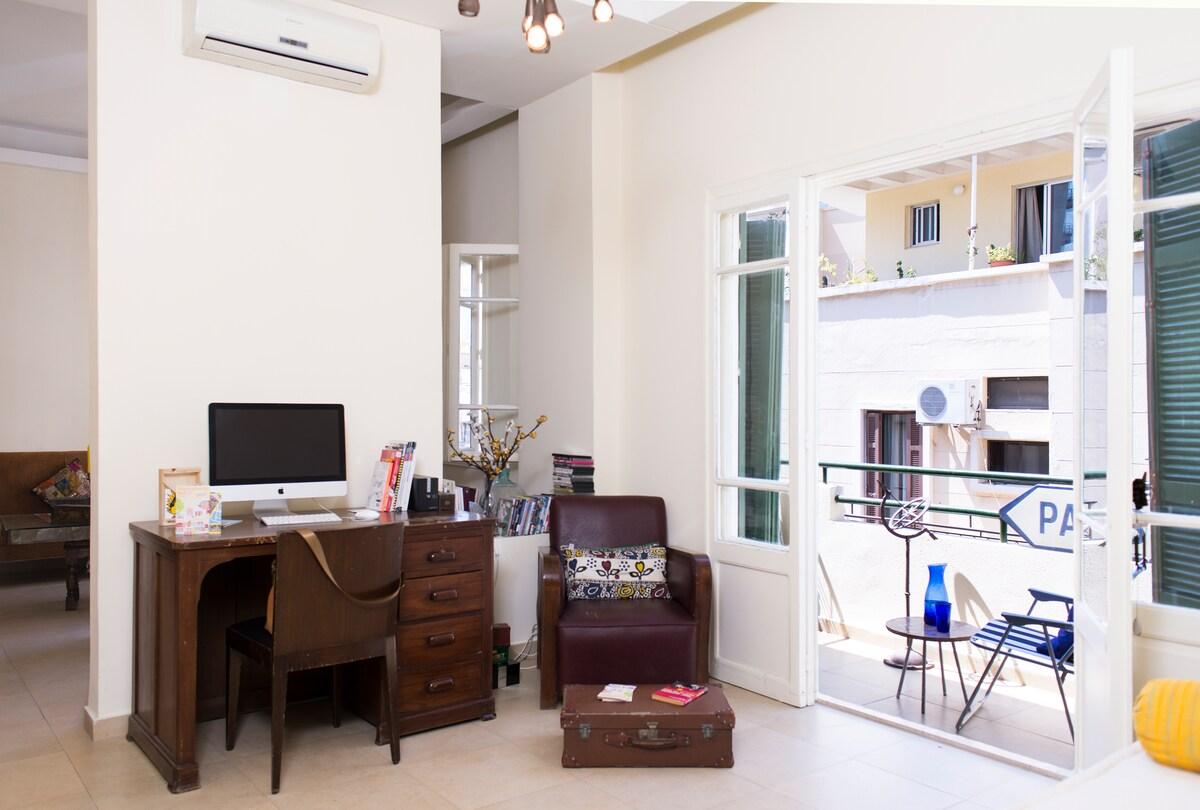 Study / TV room with balcony