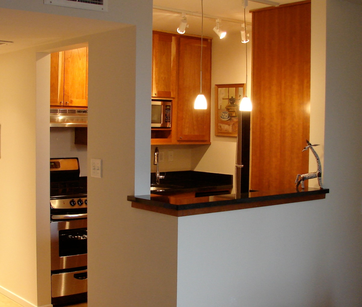 Cherry, granite and stainless kitchen - range, microwave, dw, 'frig w/ ice-maker, coffee maker, toaster