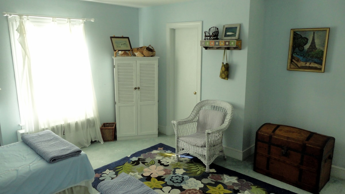 The Blue Room, upstairs with twin beds.
