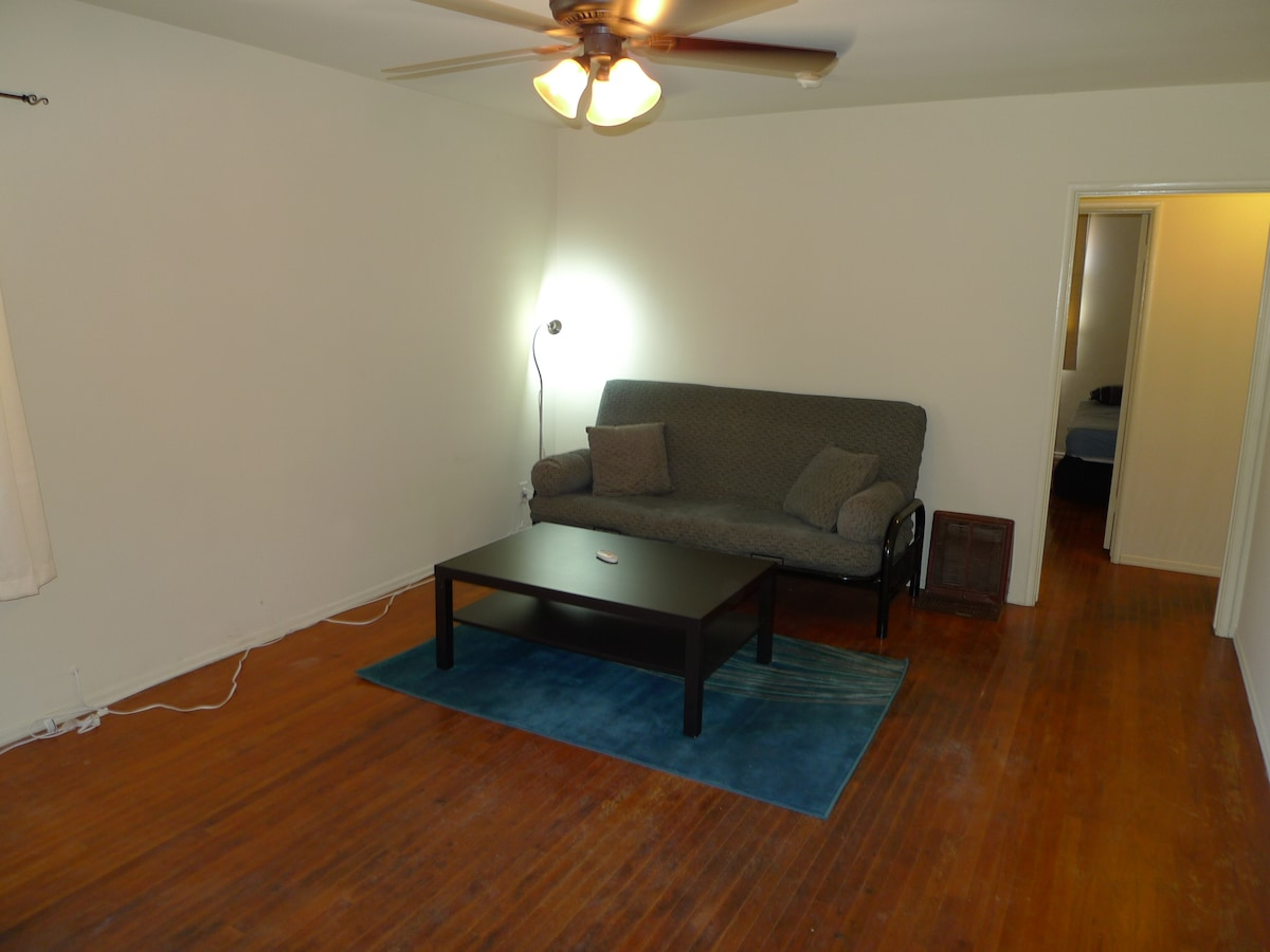 Living room, couch is a full-size futon with spring mattress.