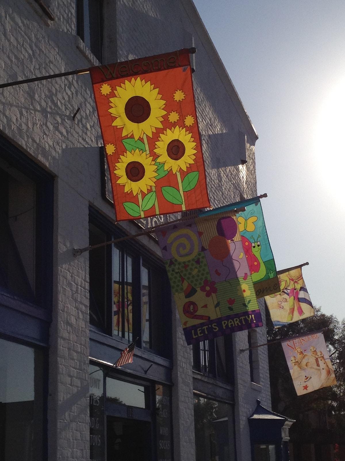 early morning sun thru the shops of balboa