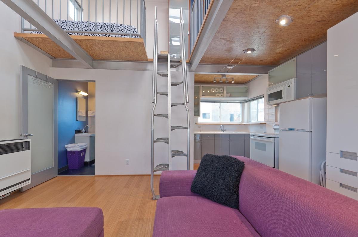 Aluminum stairs to mezzanine