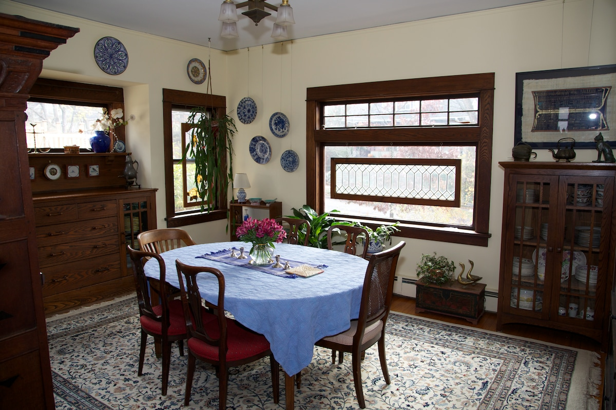 Beautiful, spacious dining room; table expands to accommodate 14.