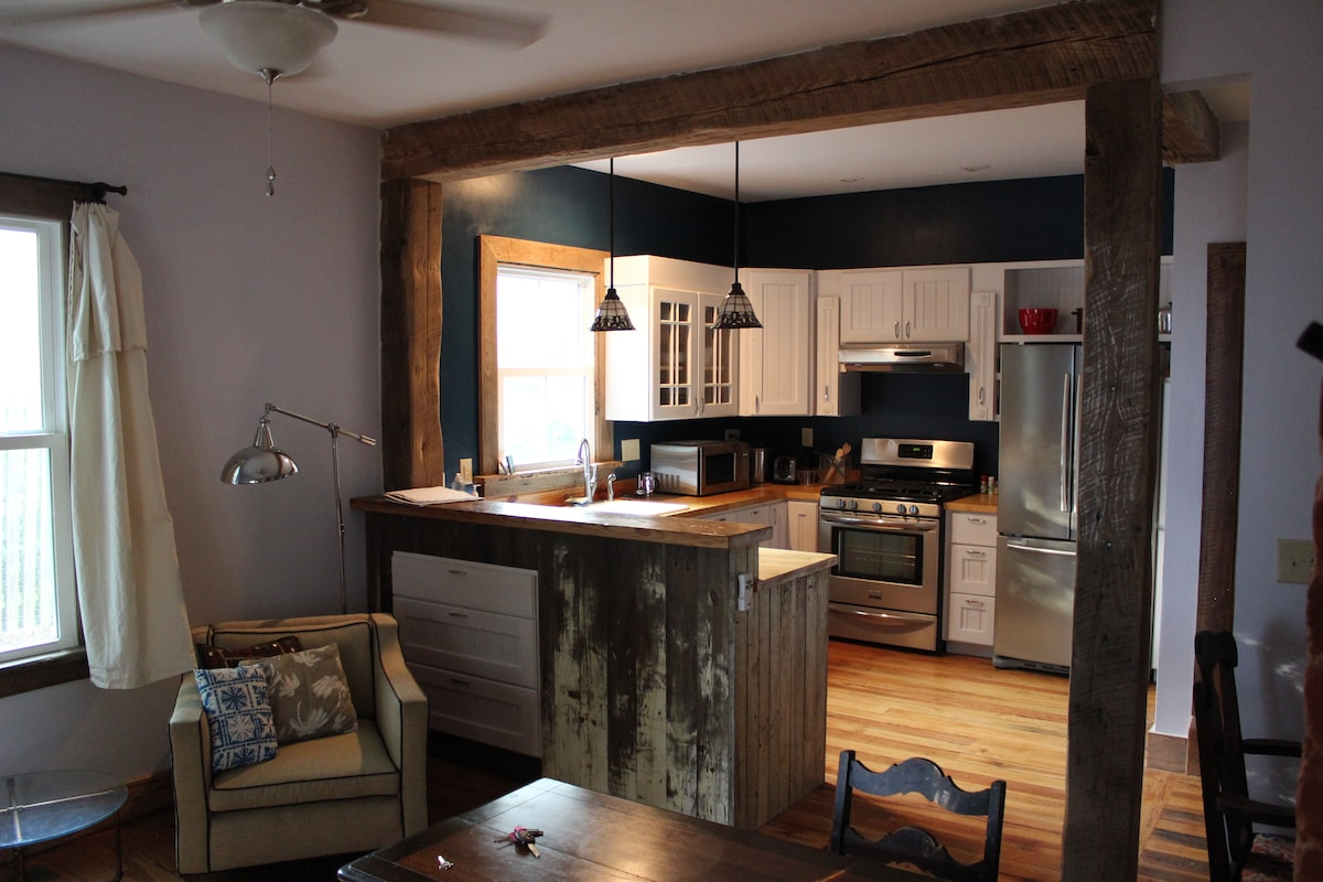 Fantastic modern kitchen with elements from an old Virginia tobacco barn.