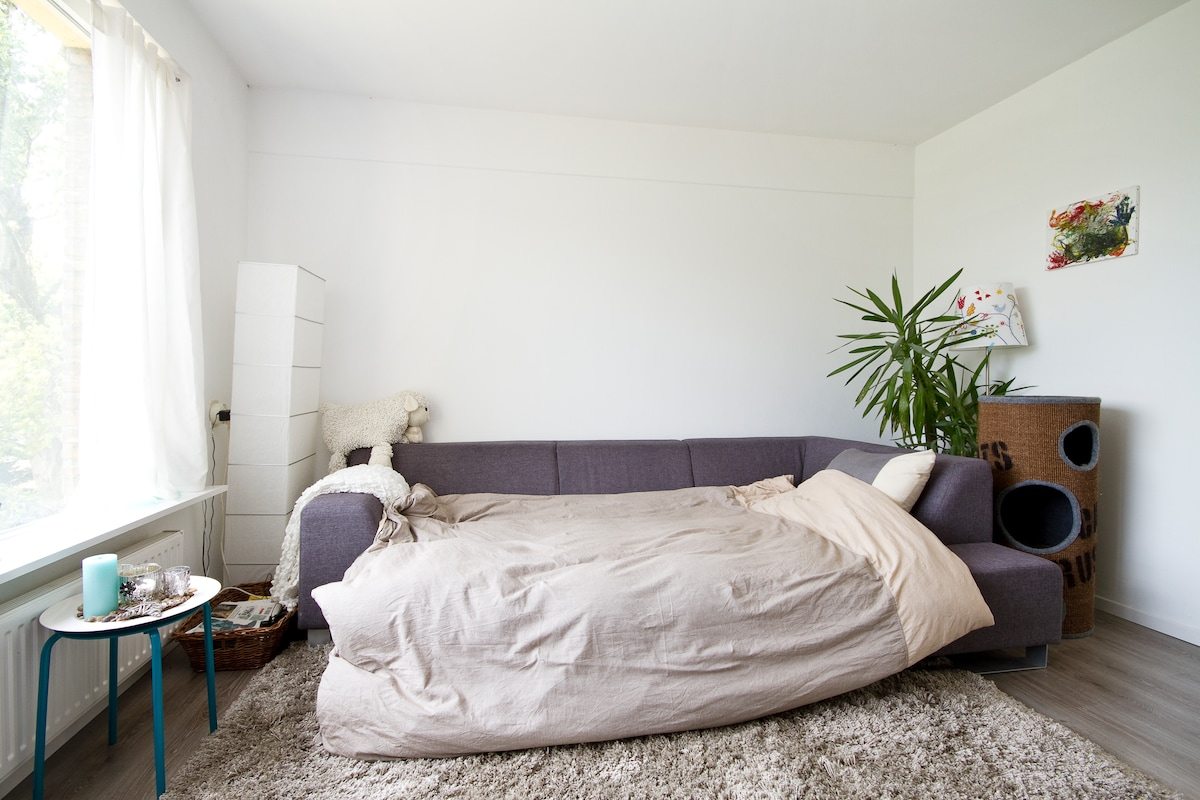 The sofa in our living room, together with the hocker can be used as a sleepingcouch