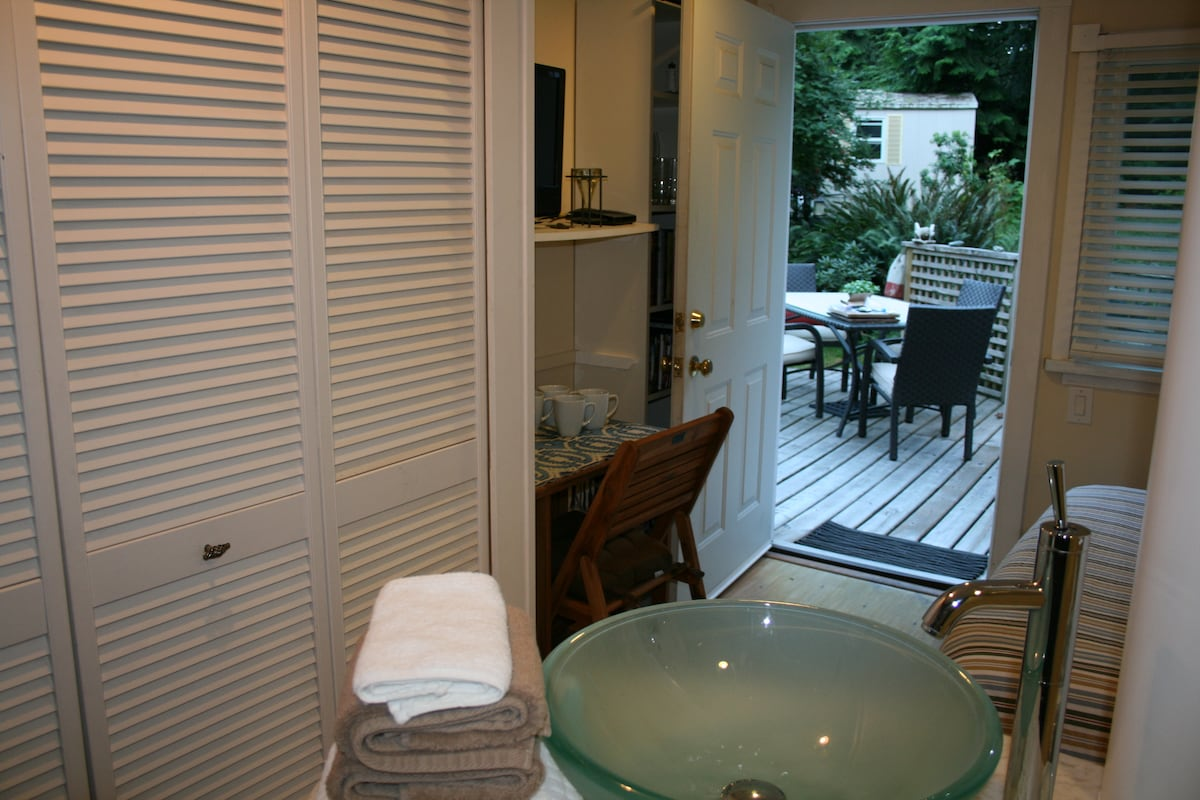 View from the washroom out to the deck