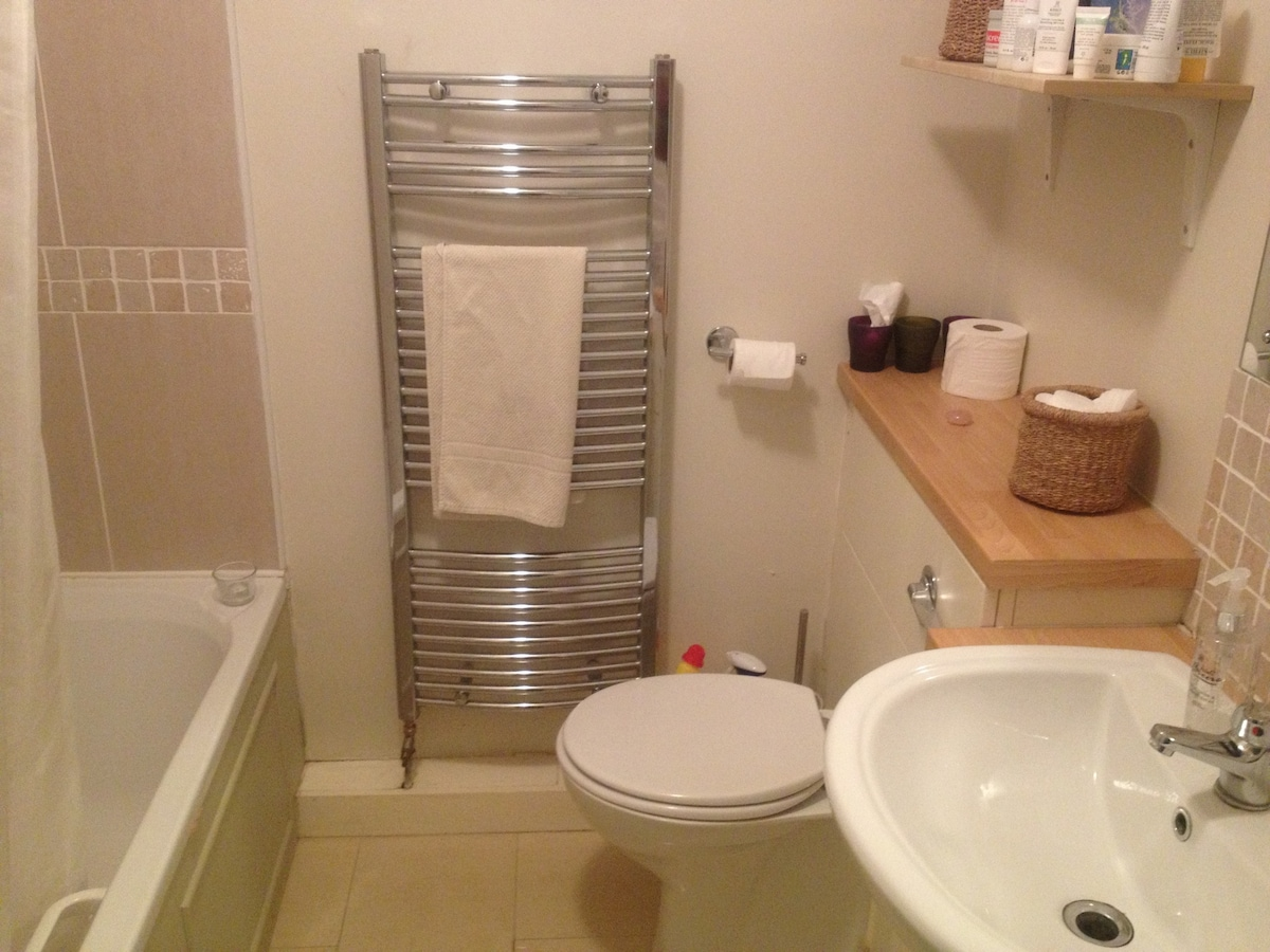 Shared bathroom, with power shower
