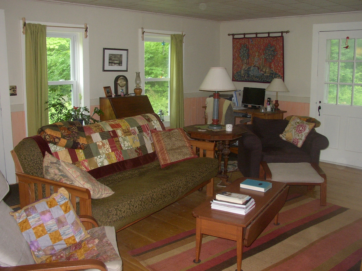 The living room also has a wood stove and TV