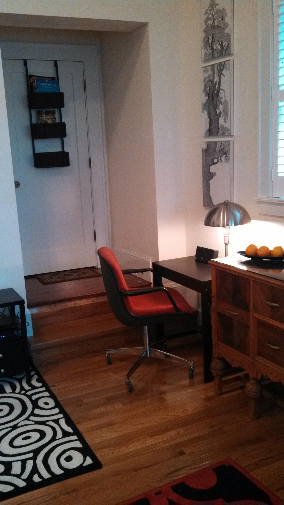 A desk area with wifi.