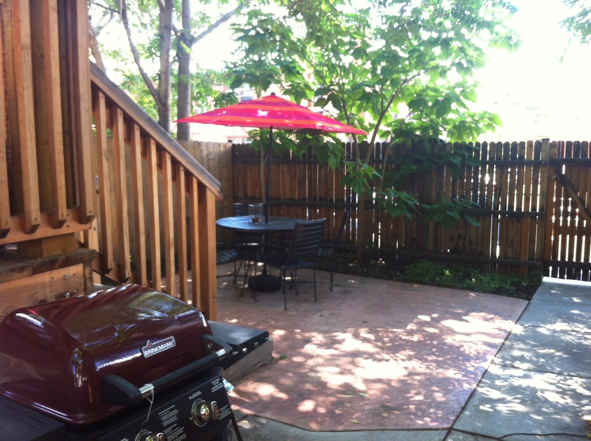 Enjoy your coffee on our private, shaded patio, or grill out for dinner!
