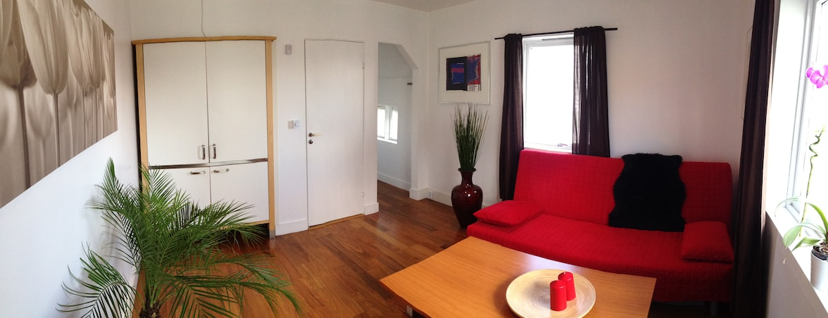 Living room perspective: It has new wooden flooring and the apartment is well heated for the days where the sun hides.