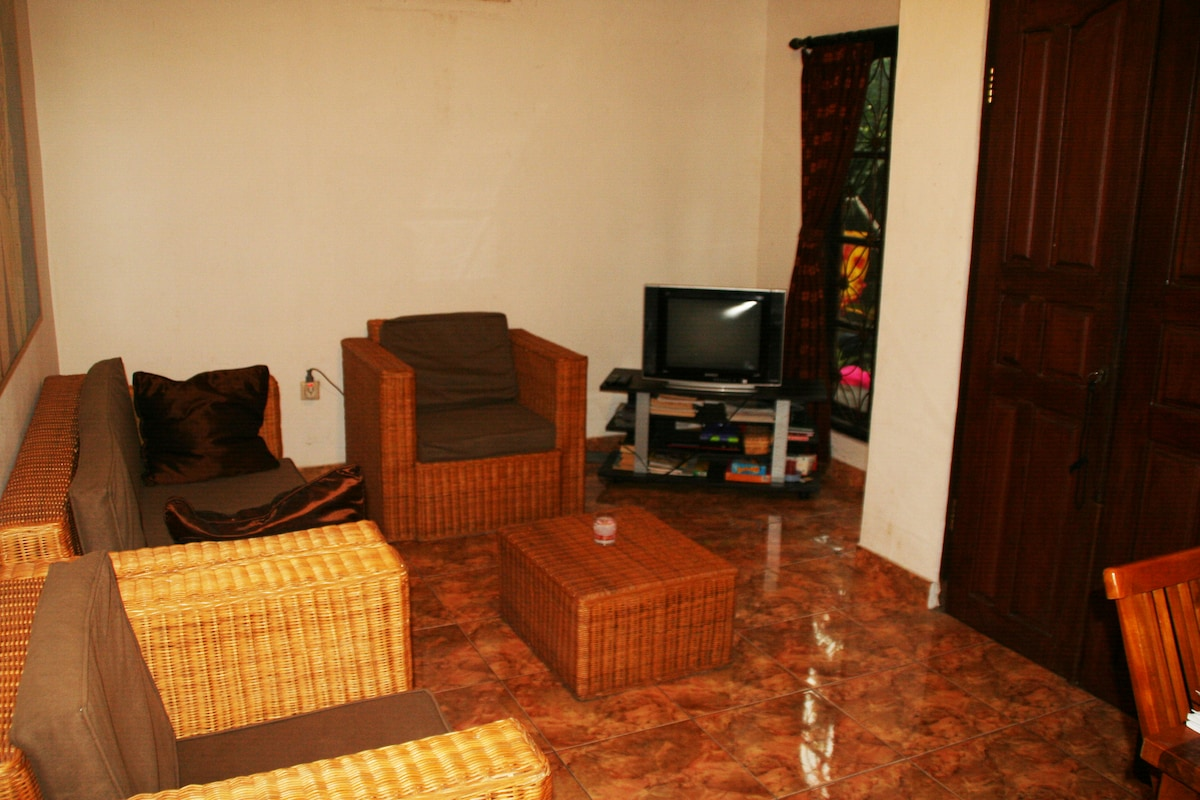 nice livingroom with dvd player and tv ( to watch movies, not many channels)