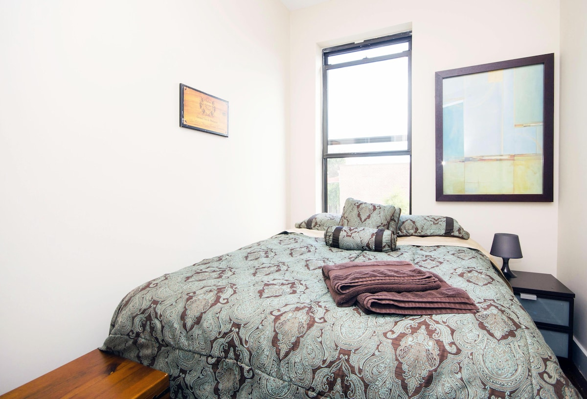 Your private room and plush queen sized bed. A/C in summer!