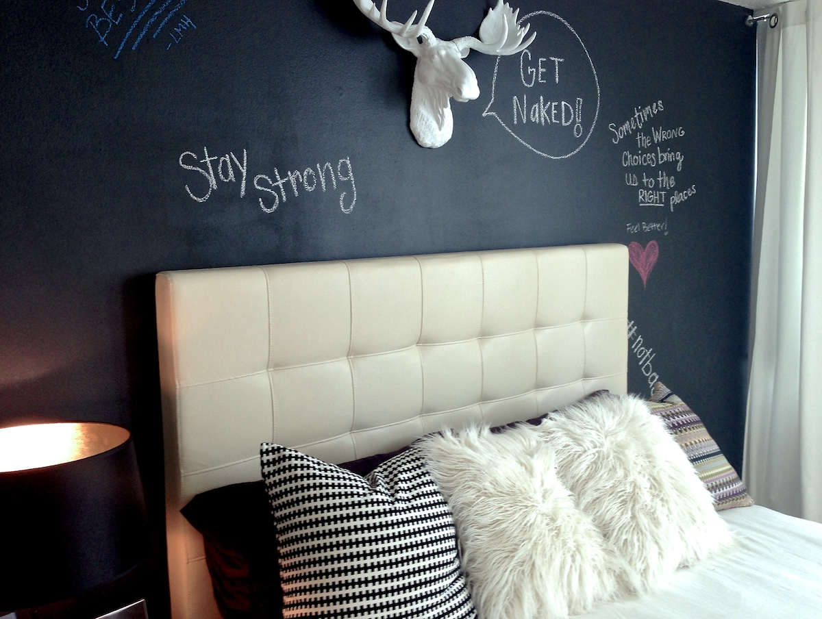 Feel free to write be an artist on the wall while you stay as well! :) Chalk included!