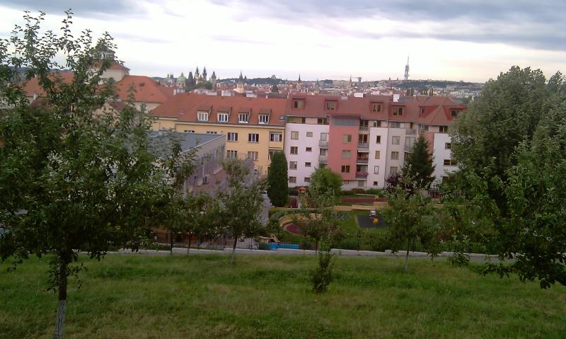 View from the park over the house and downtown (the apartment is in the white building).