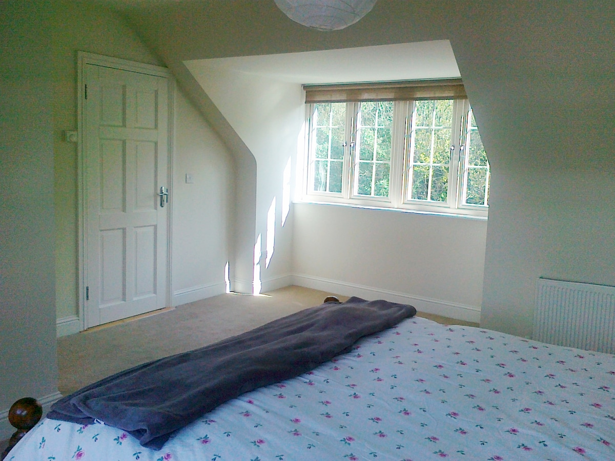King Size Bed in Attic Room - Front view