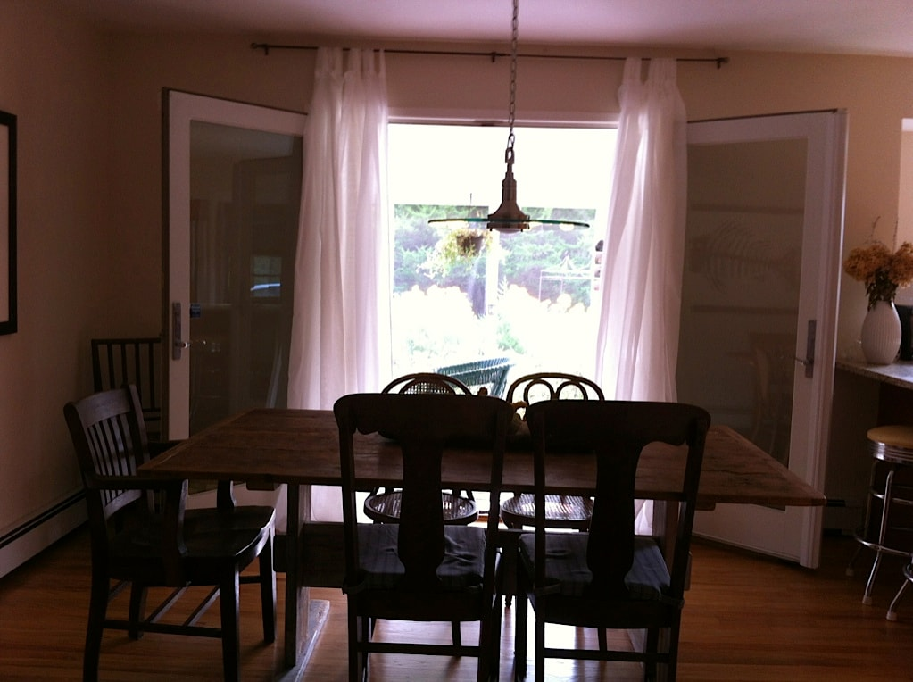 dining room with french doors to back deck