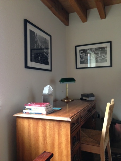 Desk in the bedroom with WiFi access.