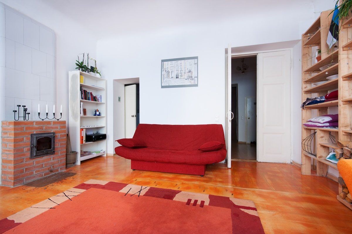 Red bed-sofa for 2 people.