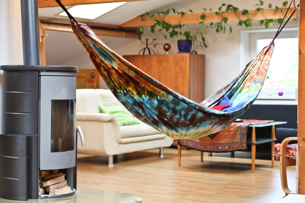your space.....watchin from the hammock how the fire burns:)