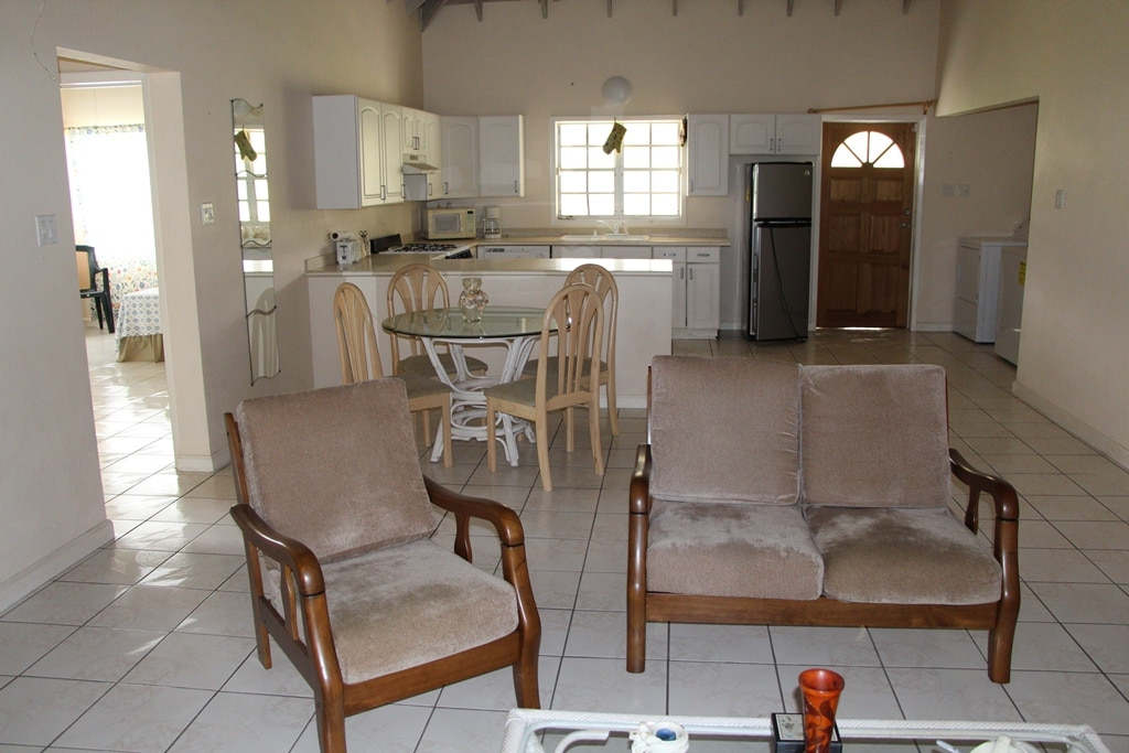 Airy, bright and spacious living area with American Kitchen and granite counters.