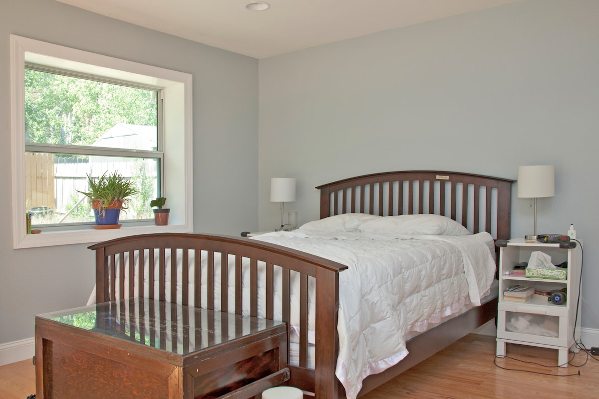 Master bedroom with queen sized bed, memory foam mattress. So comfortable!