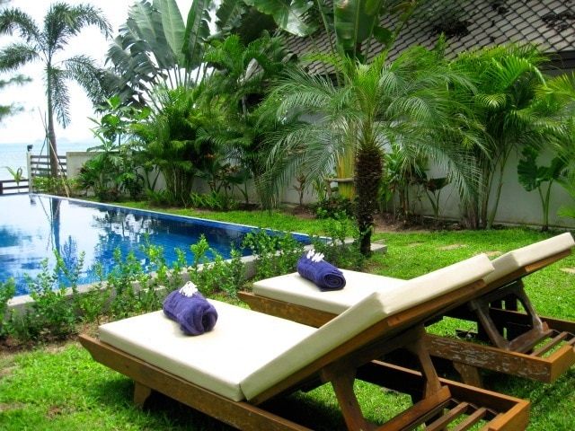 Private pool and lush garden