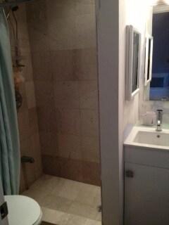 Bathroom, shower, vanity, toilet.