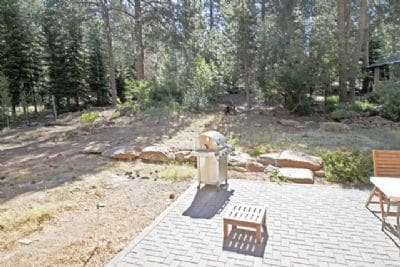 Expansive patio, seating for 4, stainless steel propane bbq