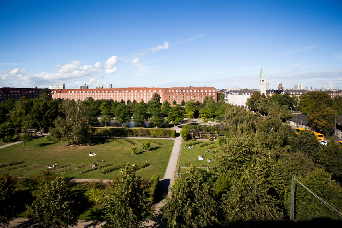 """The view over the city and """"Enghaveparken""""."""
