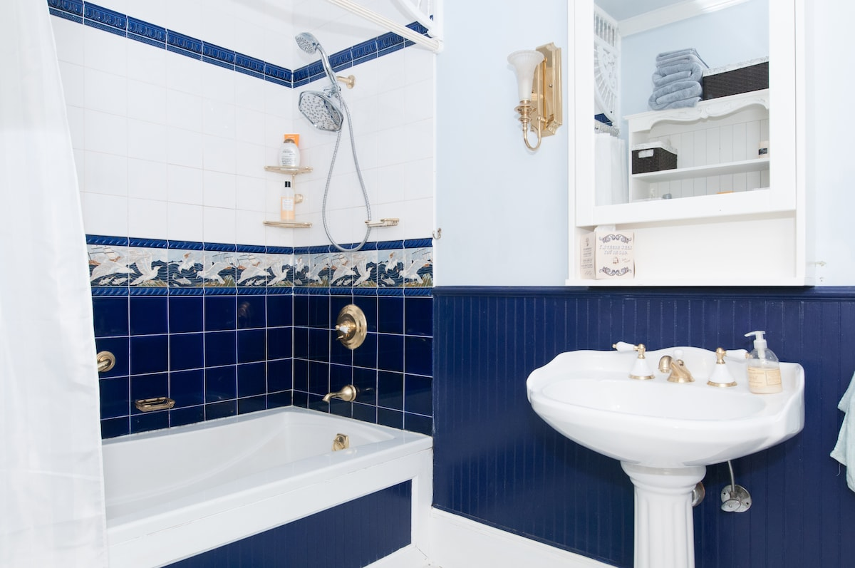 Spacious bathroom with large soaking tub and lots of water pressure