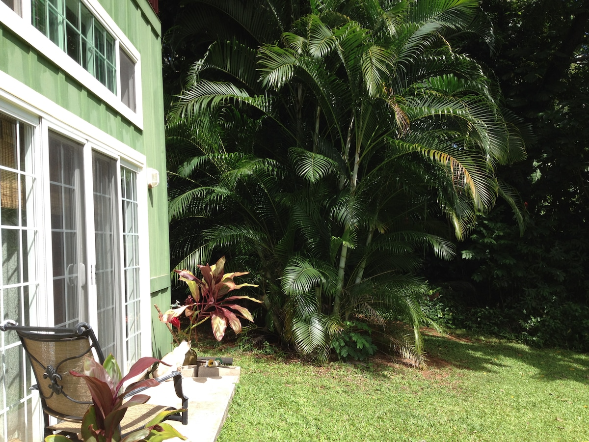 The lush foliage just outside the front doors of your private getaway in beautiful Hana, Hawaii.
