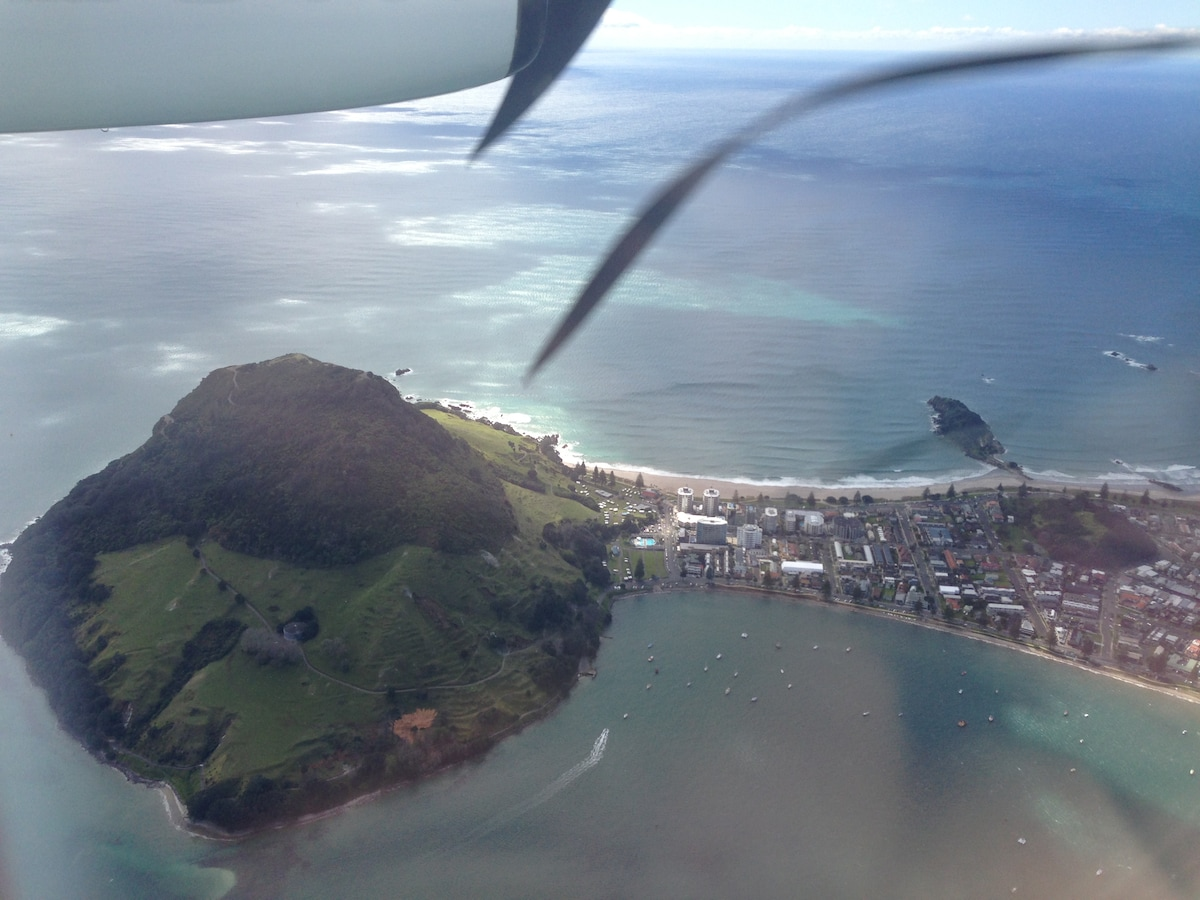 Mauau - The Mount from the Air just before landing in Mt Maunganui