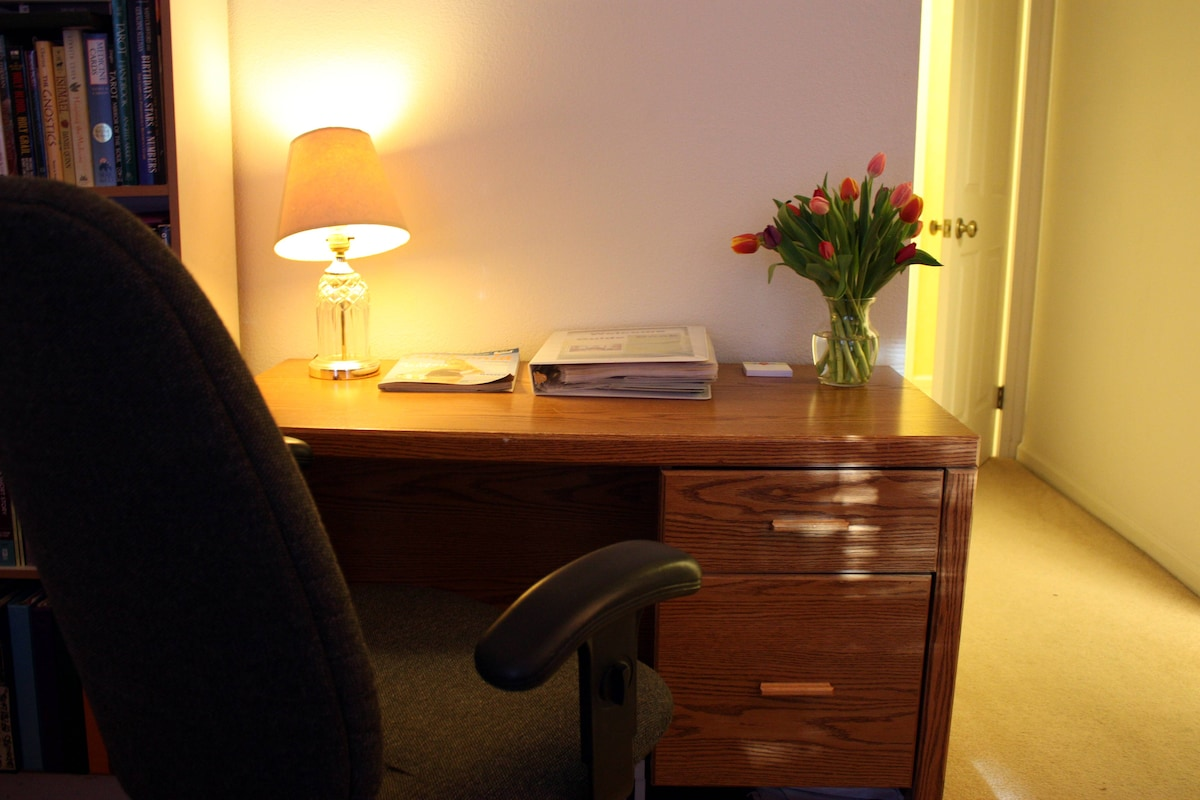 Desk with wireless internet access in the bedroom suite.