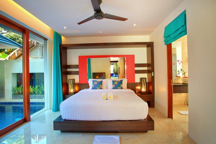 Bedroom by the pool