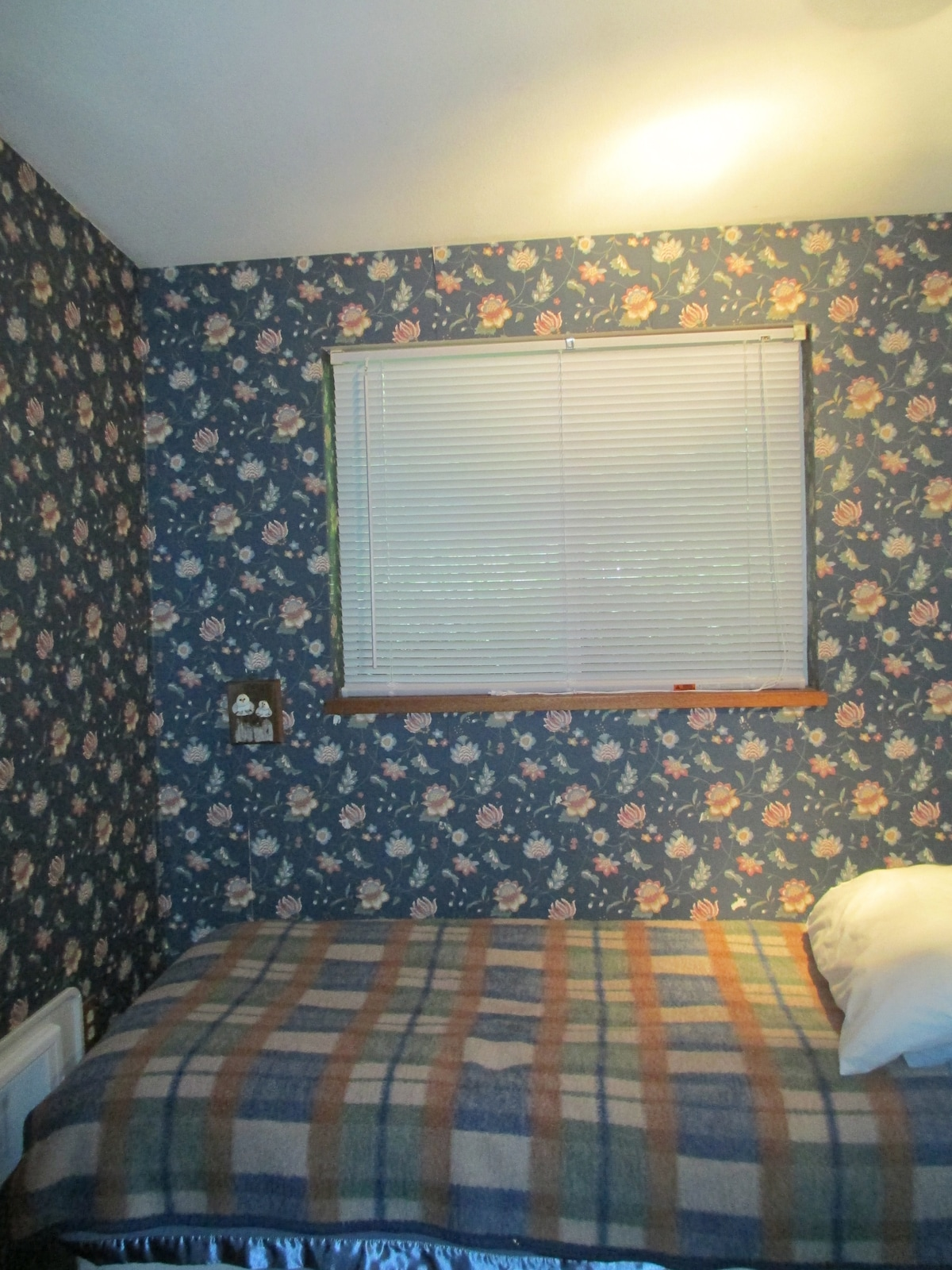 Small bedroom with twin bed, portable crib. Forest view.