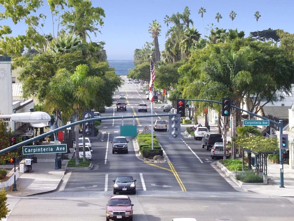 View of Linden Ave from downtown to the beach