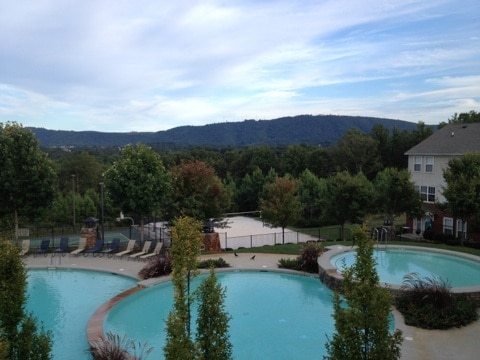 Beautiful pools to enjoy during the summer season and views of nearby Carter Mountain.