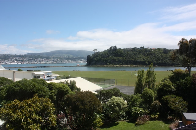 View from the house (note tennis courts, park, the harbour and inlet, and Dunedin city centre beyond)