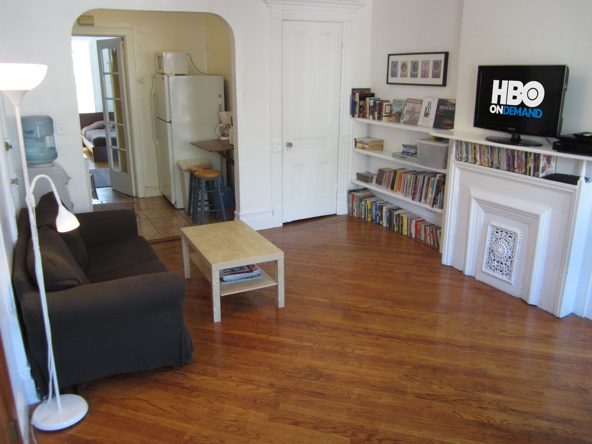 Living Room: Sofa; reading lamp; 1st closet; water cooler; books and games for kids and adults...