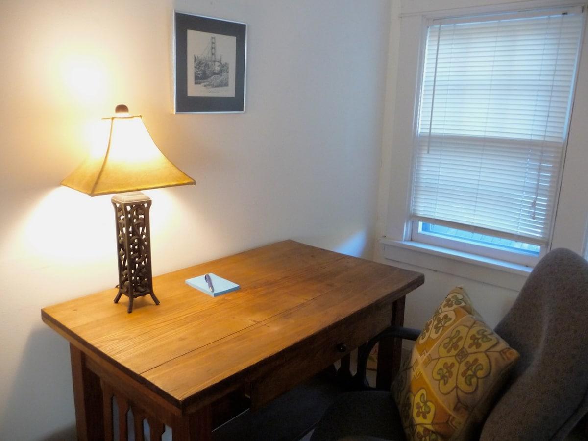 Desk in sitting room.