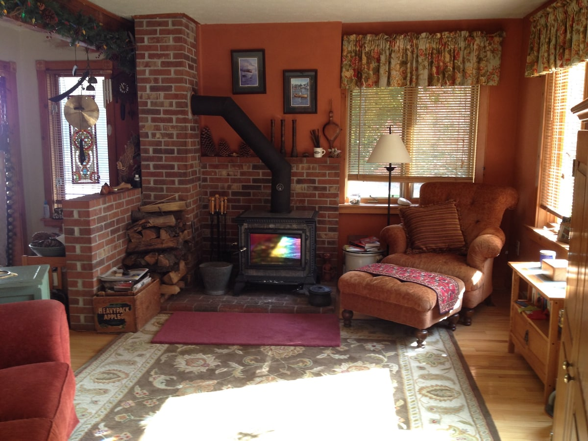 Warm wood stove to snuggle up to