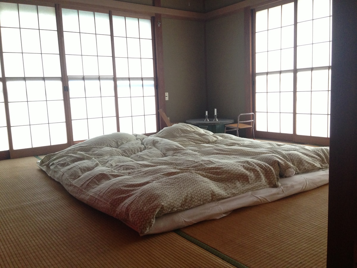 Tatami Room - This is where you will be sleeping. Duck feather duvets included!
