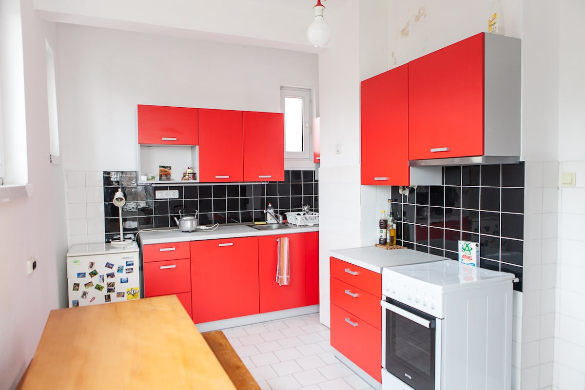 The red and black kitchen