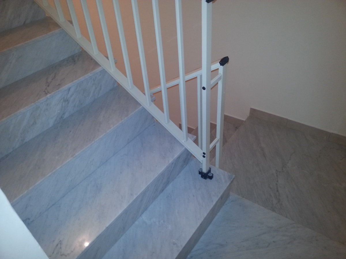 The marble stairwell to guest rooms